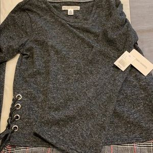 New York Laundry Tops - Lace Up Charcoal & Plaid Jersey NWT